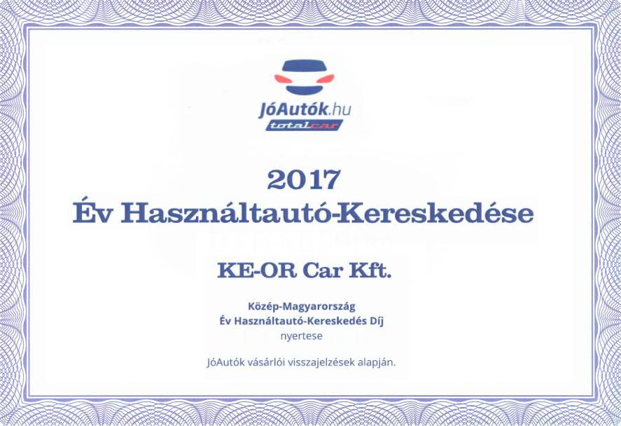 A 2017. év legjobb használtautó-kereskedése lettünk!