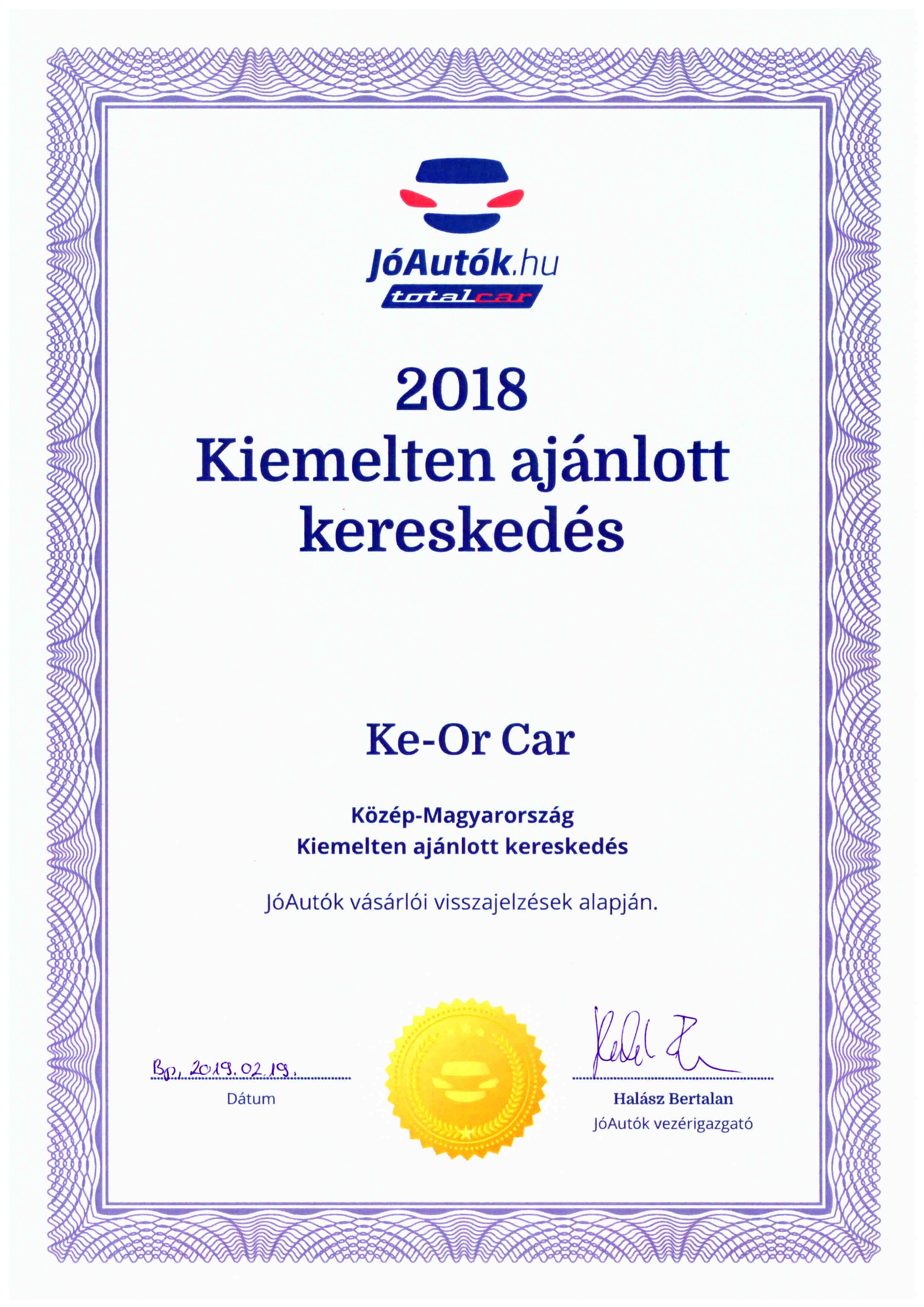 2018. Kiemelten ajánlott autókereskedés